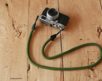 D Style green 10mm Climbing rope black leather handmade Camera neck strap