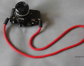 parallel line red nylon 8mm Handmade black leather camera neck strap SLR/DSLR