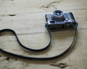 Green top 8mm thickening black leather handmade Camera neck shoulder strap more color