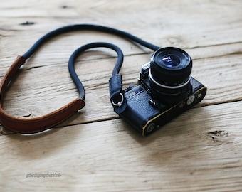 black leather black Climbing rope 9.5mm handmade Shoulder pad Camera neck strap