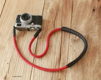 Shoulder pad black leather red Climbing rope 10mm  handmade Camera neck strap