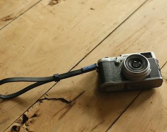 Blue top Thickened leather 8mm dark Handmade camera wrist strap band
