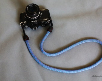 C Style blue 10.5mm Climbing rope handmade Camera neck strap