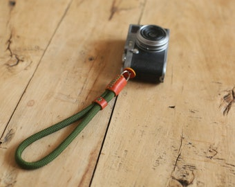 Army green soft climbing rope brown leather 10mm Handmade camera wrist strap band   Windmup