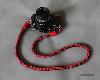 Red black pattern 12mm Hand knit Chinese knot handmade Camera neck strap SLR/DSLR