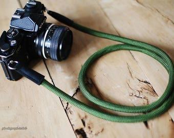 green Climbing rope 10.5mm handmade Black leather Camera neck strap