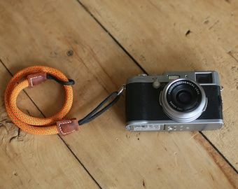 windmup COOL Orange and green Climbing rope 10mm handmade Camera wrist band