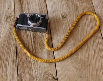 Windmup Gold Climbing rope 10mm brown leather handmade Camera neck shoulder strap
