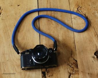 Dark blue Climbing rope 10mm handmade Camera neck strap