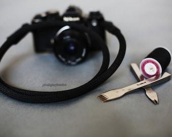 black leather black Climbing rope 9.5mm handmade Camera neck strap