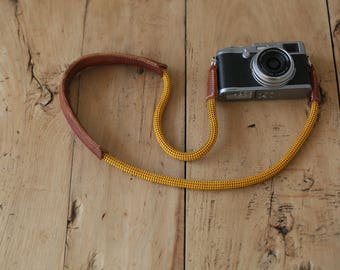 Shoulder pad brown leather gold Climbing rope 10mm handmade Camera neck strap