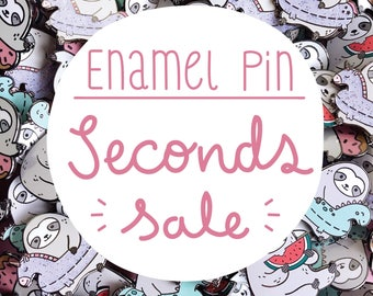 SECONDS SALE, enamel pin, second pins, sloth pin, watermelon pin, unicorn, lapel pin, pins, sloth, 50% OFF, dinosaur, cute, sale