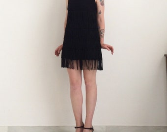 Mini dress with black fringe size 40