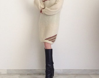 Soft vintage 80s sweater dress in wool and angora