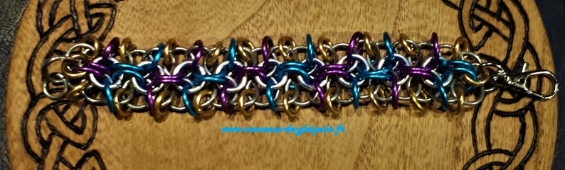 Chain mail BRACELET made of steel stainless multicolored anodized aluminum Original Valentine/'s day or birthday gift