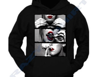 d314354e1c7826 Red Lips Sexy Girl Rolling Joint Hoodie Sweatshirt