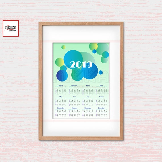 2019 Yearly Calendar: one page calendar