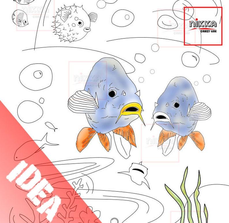 Disegni Di Pesci Da Stampare E Colorare Animali Da Colorare Etsy