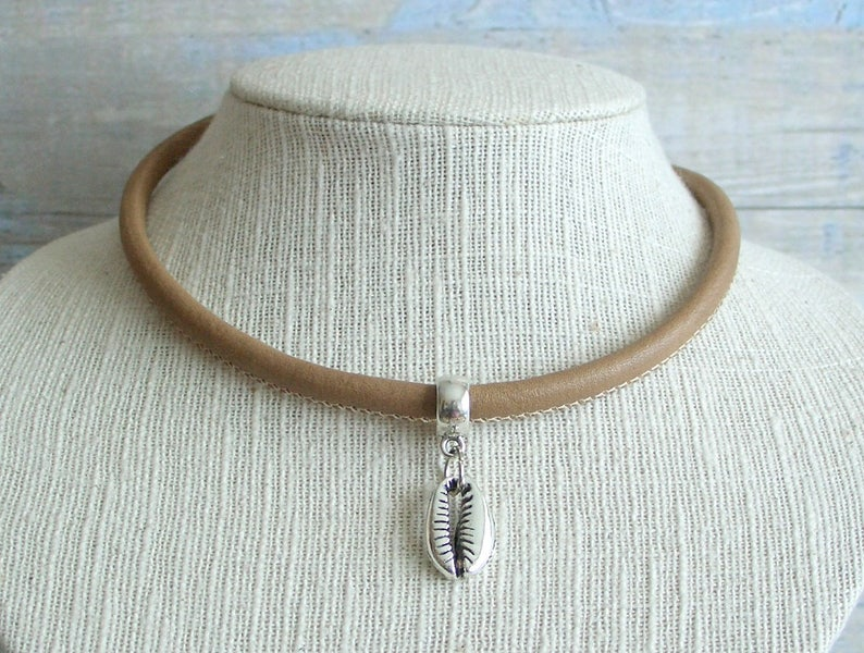 Turquesa Tibetana Plata Colgante Collar Gargantilla con cordón de cuero Hippie Boho