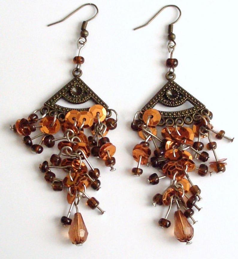 Long earrings boho chic hippie gypsie surfer style Bohemian bronze pendants amber copper brown glass beads