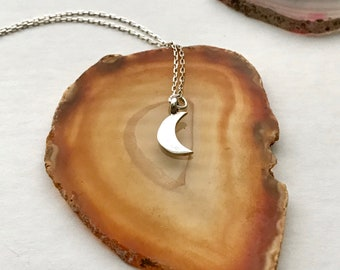Sterling Crescent Moon Necklace