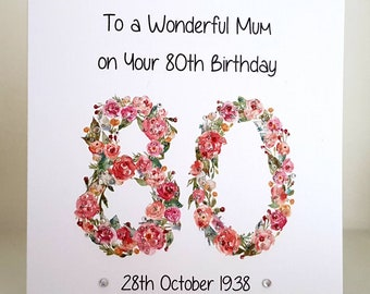 80th Birthday Card Handmade And Personalised For You Mum Wife Sister Aunt Friend Grandma Nan