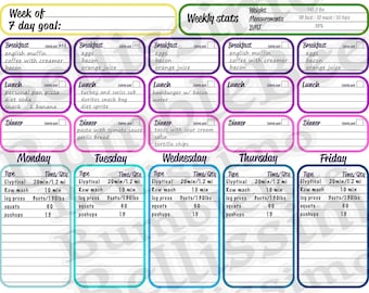 Fitness Journal - Weekly format
