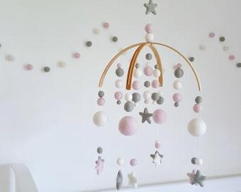 Baby Pink & Dove Grey Nursery Mobile, Mobiles for Nursery, Baby Girl Mobile, Baby Mobiles, Baby Shower Gift, Baby Crib Mobile, Mobile Baby