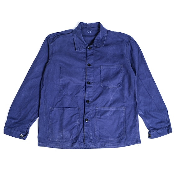 French Workwear Canvas Jacket 70's, vintage blue c