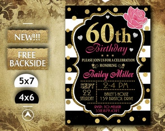 60th birthday invite etsy 60th birthday invitation 60th birthday party 60th birthday invite 60th birthday printable invitation in pink and gold glitter filmwisefo