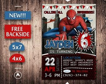 Spiderman Invitation Birthday Invite Party Printable Card