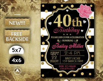 40th Birthday Invitation Party Invite Printable In Pink And Gold Glitter