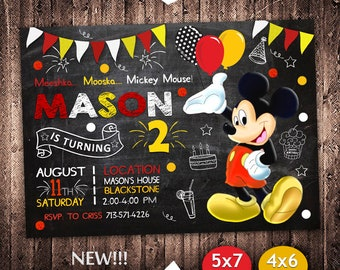Mickey Mouse Invitation Birthday Invite Party Printable Card
