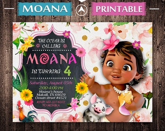 Baby Moana Invitation Birthday Invite Party Printable Digital Card