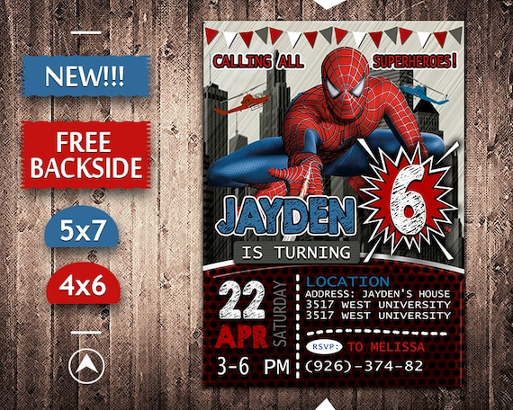 Spiderman Invitation Birthday Invite