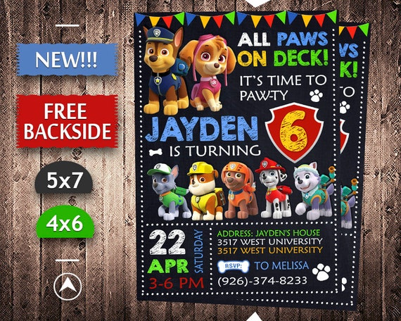 image about Printable Paw Patrol Invitations identified as Paw Patrol Invitation, Paw Patrol Birthday, Paw Patrol Invite, Paw Patrol Bash, Paw Patrol Printable, Paw Patrol Electronic, Paw Patrol Card