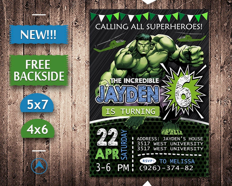 Incredible Hulk Invitation Birthday