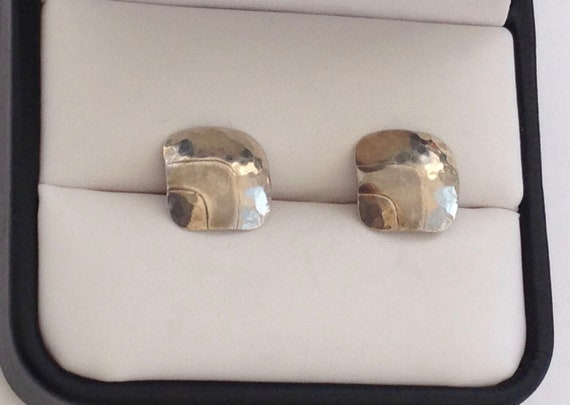 Vintage PEARCE Modernist Sterling Silver Earrings,