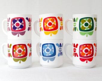 gift woman. french coffee mugs girlfriend gift set of 6 opaline coffee cups arcopal coffee mugs table accessories Vintage coffee mugs