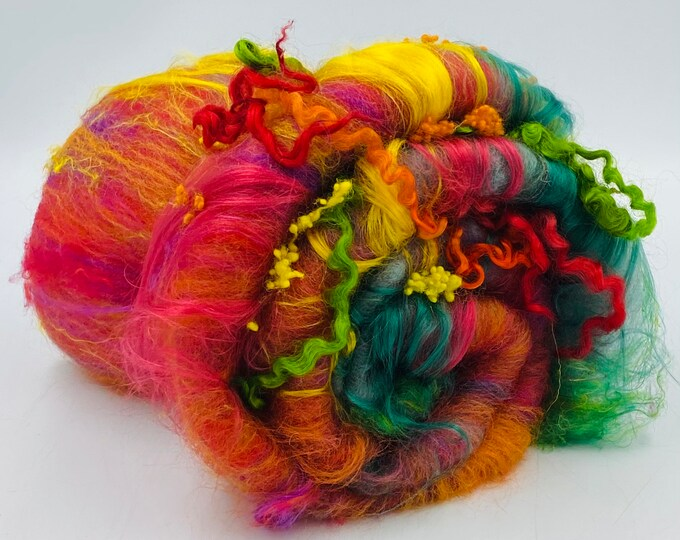 "Featured listing image: Hand Carded "" Wild Flower "" Corriedale, Falkland, Seacell, Merino, Silk Noil, Sari Silk, Silk, Nepps & Teeswater Art Batt, 100g"