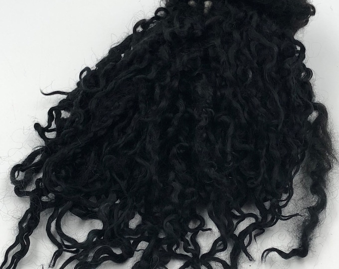 Featured listing image: Hand Dyed Jet Black Teeswater Locks, 50g