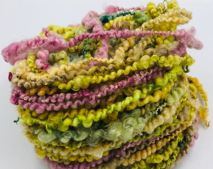 """Featured listing image: Hand Dyed Core Spun, Spiral Plied """" Summer """" Teeswater & Masham Yarn, 205g"""