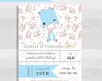 Customised card/ Cute Blue Giraffe Birthday invitation card/ suitable for girls and boys/baby shower/ DIY/ Blue invitation card/digital file