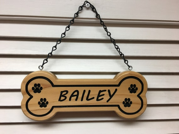 Dog Custom Personalized Carved Cedar Wood Sign for Doghouse Pet