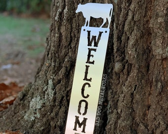 Cow Welcome Plaque - Bad Dog Metalworks Home Décor - Cabin Décor - Country Welcome Sign - Farmhouse Décor - Farmhouse Kitchen Décor