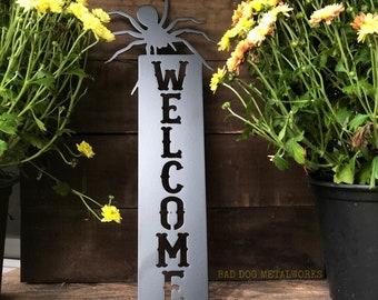 Spider Welcome Plaque - Bad Dog Metalworks Home Decor - Halloween Decor - Metal Art - Halloween Welcome Plaque