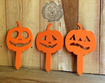 Halloween Pumpkin Mini Garden Stake Set - Bad Dog Metalworks Home Décor - Halloween Décor - Home & Garden - Pumpkin Yard Stake - Fall Décor