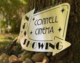 Retro Now Showing Personalized Cinema Sign - Bad Dog Metalworks Home Décor - Home Theater Décor - Cinema Décor - Personalized Movie Sign