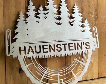 Logging Monogram Sign - Bad Dog Metalworks Personalized Decor - Home Decor - Housewarming Gift - Cabin Decor - Logger Gifts - Patio Decor