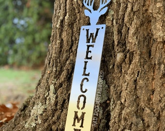 Deer Welcome Plaque - Bad Dog Metalworks Home Décor - Cabin Décor - Country Welcome Sign - Big Buck - Hunting Gifts - Game Hunters Gifts